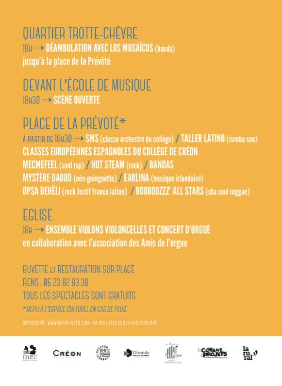 programme nuit de la musique Créon 2015 MEC